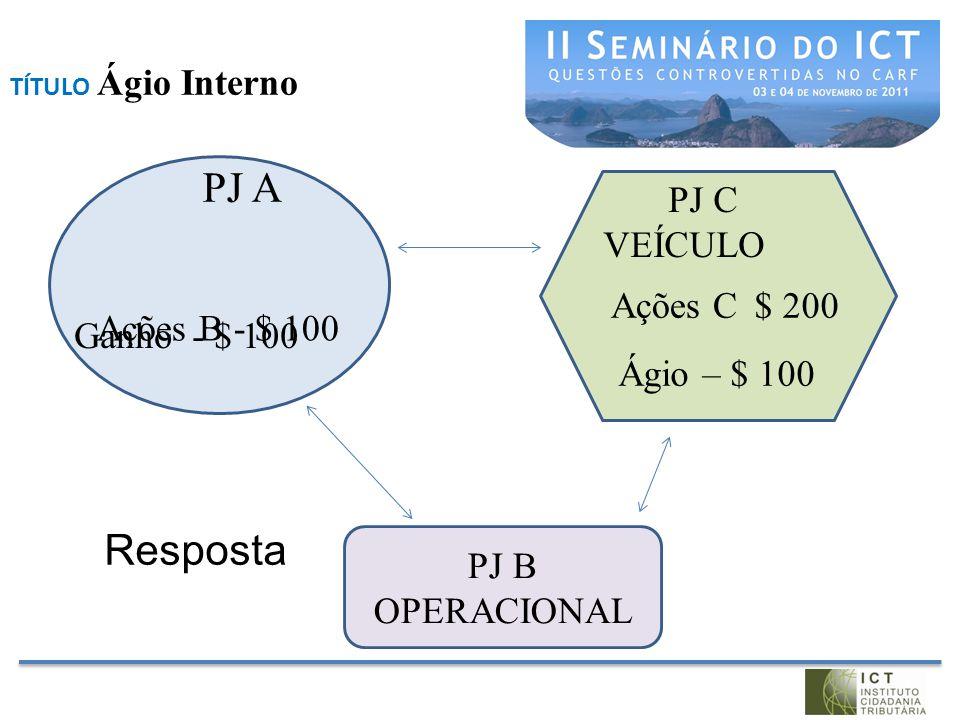 PJ A Resposta PJ C VEÍCULO Ações C $ 200 Ações B - $ 100 Ganho - $ 100