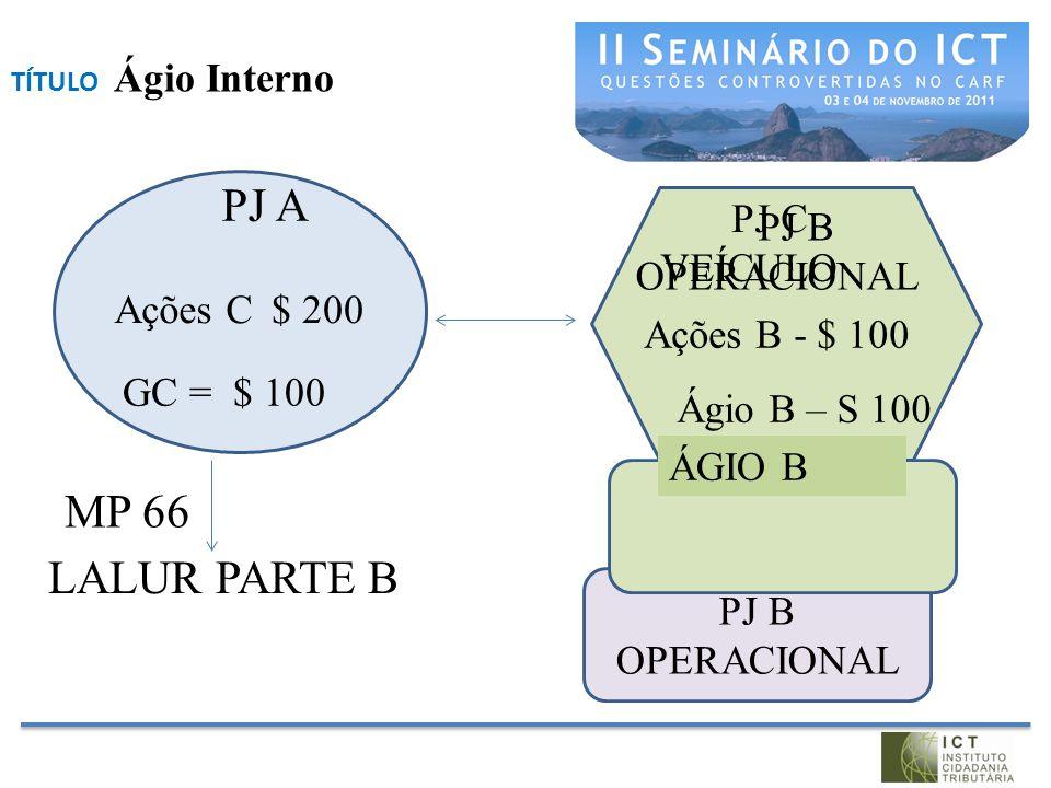 PJ A MP 66 LALUR PARTE B PJ C VEÍCULO PJ B OPERACIONAL Ações C $ 200