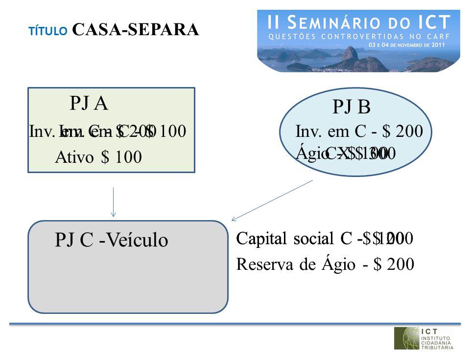 PJ A PJ B PJ C -Veículo Inv. em C - $ 200 Inv. em C - $ 100