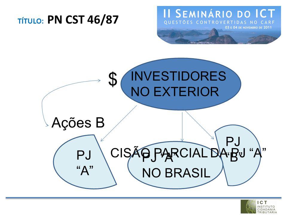 $ Ações B INVESTIDORES NO EXTERIOR PJ B CISÃO PARCIAL DA PJ A
