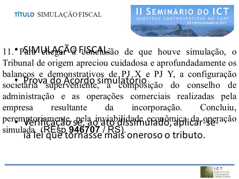 TÍTULO SIMULAÇÃO FISCAL