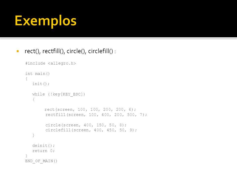 Exemplos rect(), rectfill(), circle(), circlefill() :