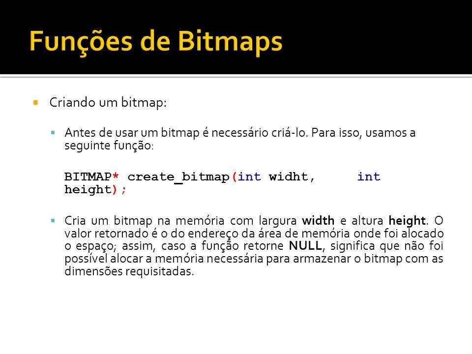 Funções de Bitmaps Criando um bitmap: