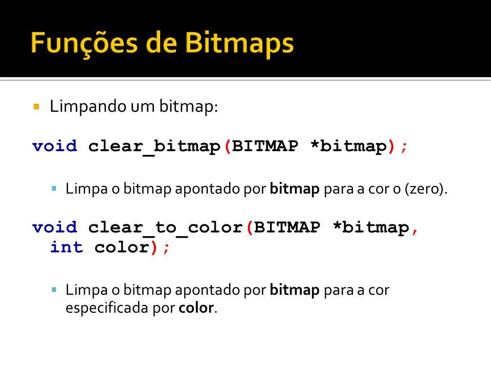 Funções de Bitmaps Limpando um bitmap:
