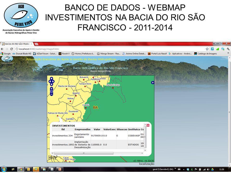 INVESTIMENTOS NA BACIA DO RIO SÃO FRANCISCO - 2011-2014