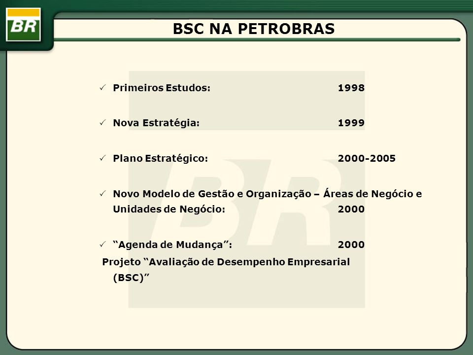 BSC NA PETROBRAS Primeiros Estudos: 1998 Nova Estratégia: 1999