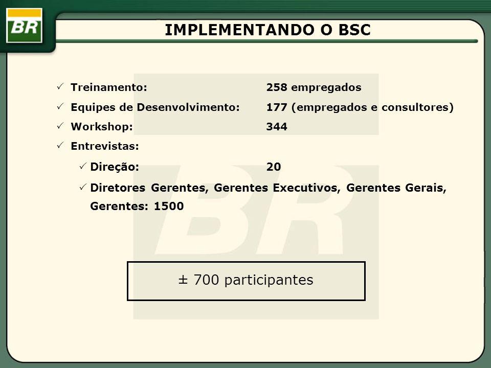 IMPLEMENTANDO O BSC ± 700 participantes Direção: 20