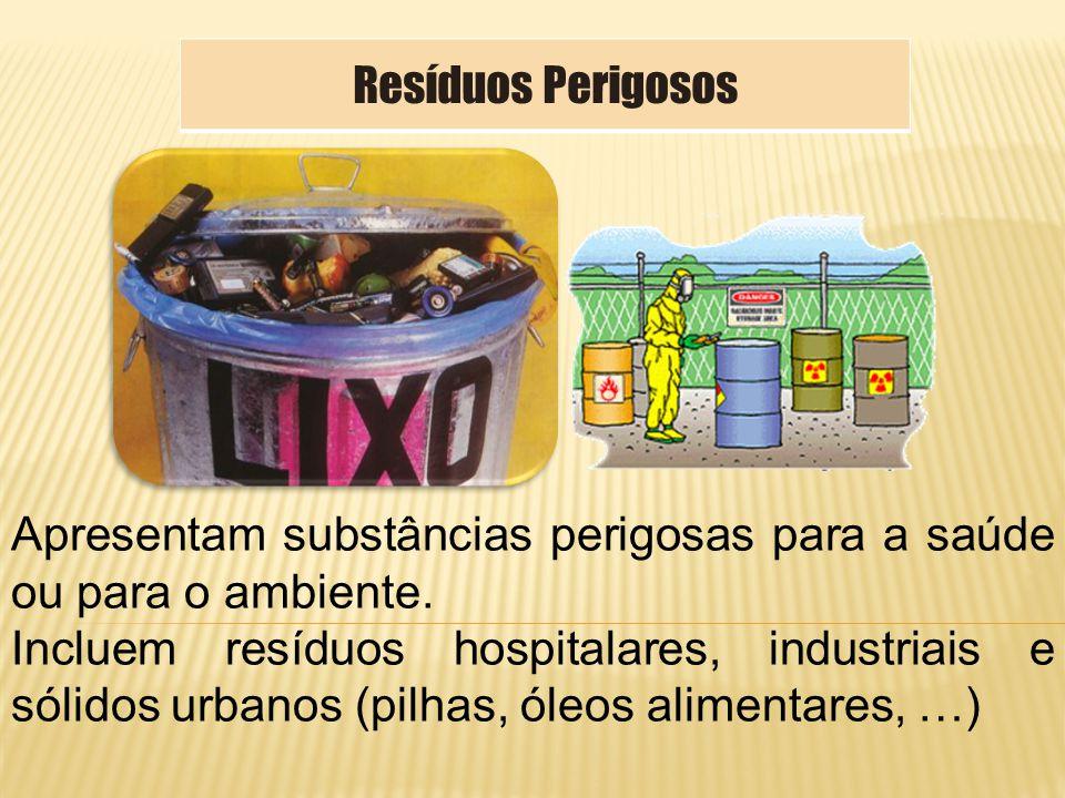Resíduos Perigosos Apresentam substâncias perigosas para a saúde ou para o ambiente.