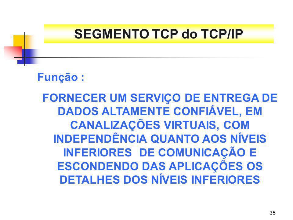 SEGMENTO TCP do TCP/IP Função :