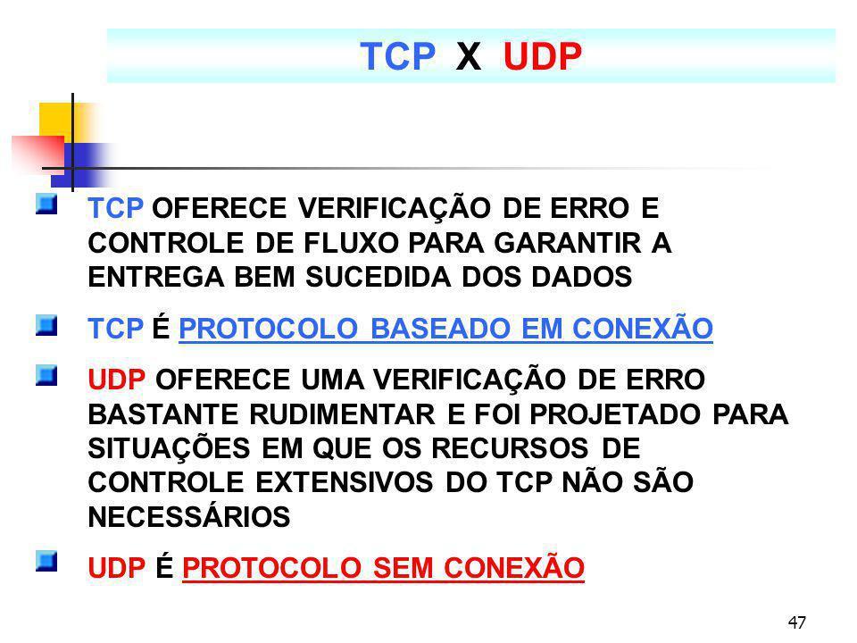 TCP X UDP TCP OFERECE VERIFICAÇÃO DE ERRO E CONTROLE DE FLUXO PARA GARANTIR A ENTREGA BEM SUCEDIDA DOS DADOS.
