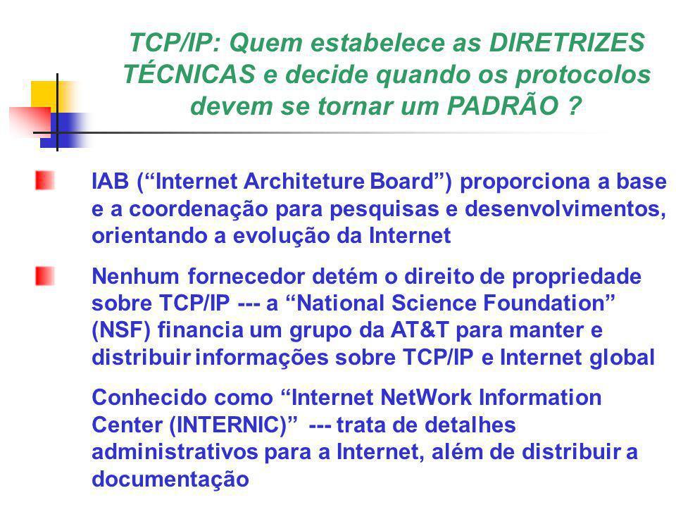 TCP/IP: Quem estabelece as DIRETRIZES TÉCNICAS e decide quando os protocolos devem se tornar um PADRÃO