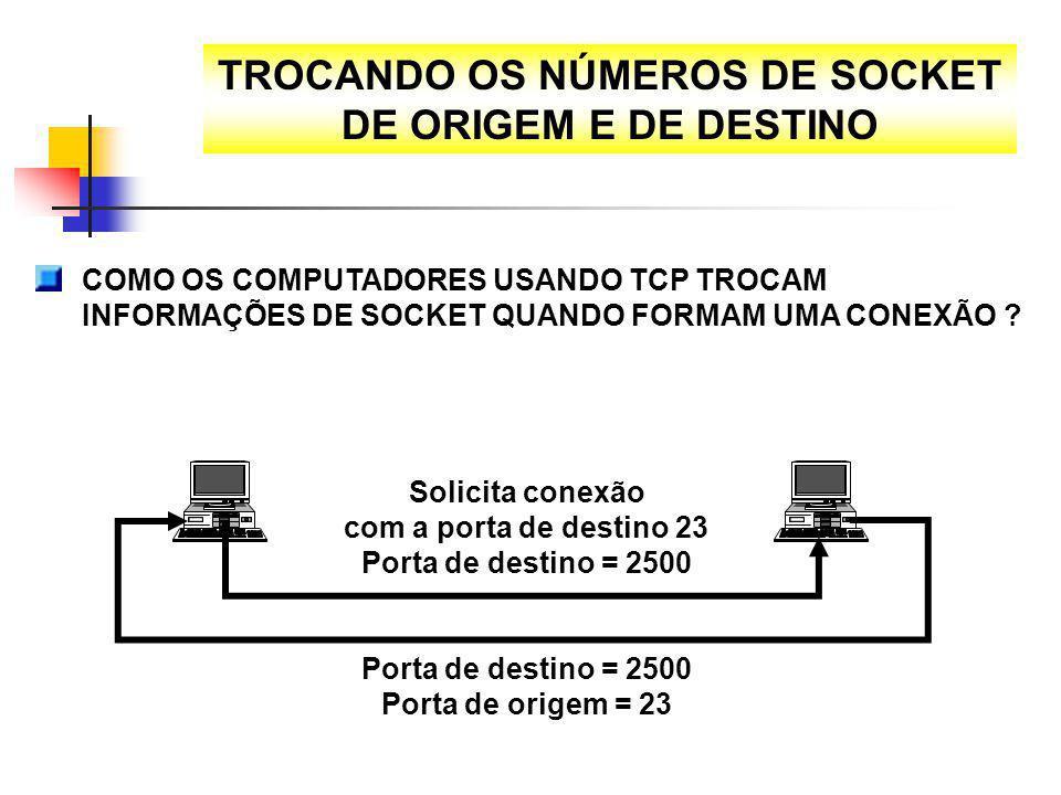 TROCANDO OS NÚMEROS DE SOCKET DE ORIGEM E DE DESTINO