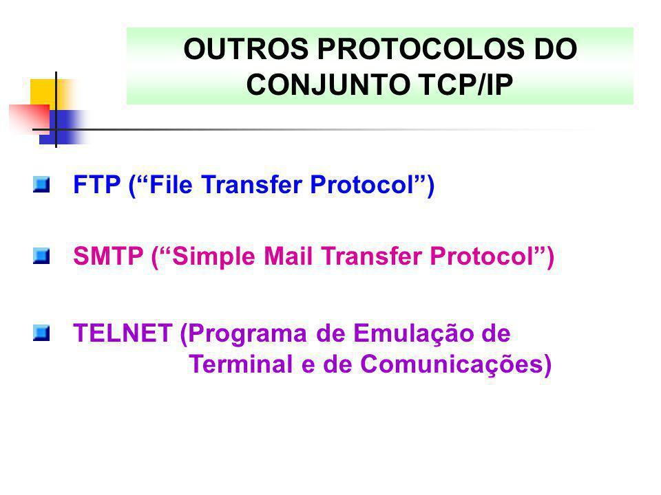 OUTROS PROTOCOLOS DO CONJUNTO TCP/IP
