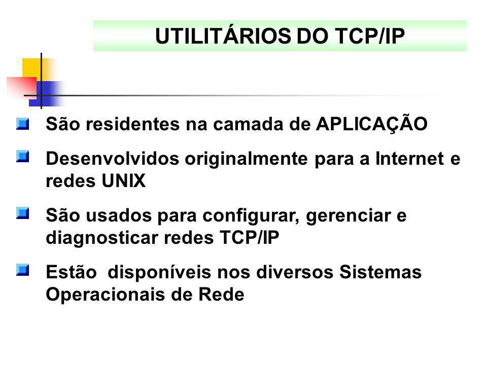 UTILITÁRIOS DO TCP/IP São residentes na camada de APLICAÇÃO