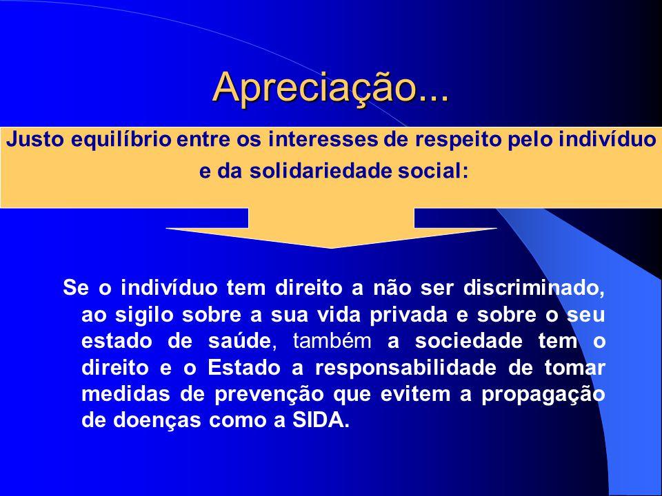 Apreciação... Justo equilíbrio entre os interesses de respeito pelo indivíduo. e da solidariedade social: