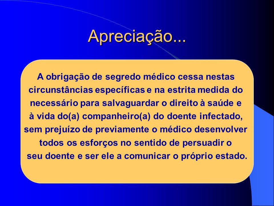 Apreciação... A obrigação de segredo médico cessa nestas