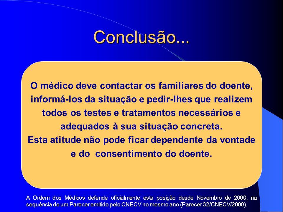 Conclusão... O médico deve contactar os familiares do doente,