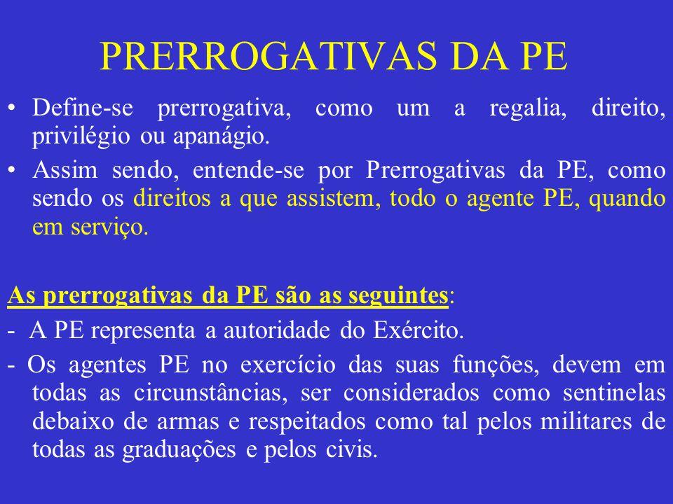 PRERROGATIVAS DA PE Define-se prerrogativa, como um a regalia, direito, privilégio ou apanágio.