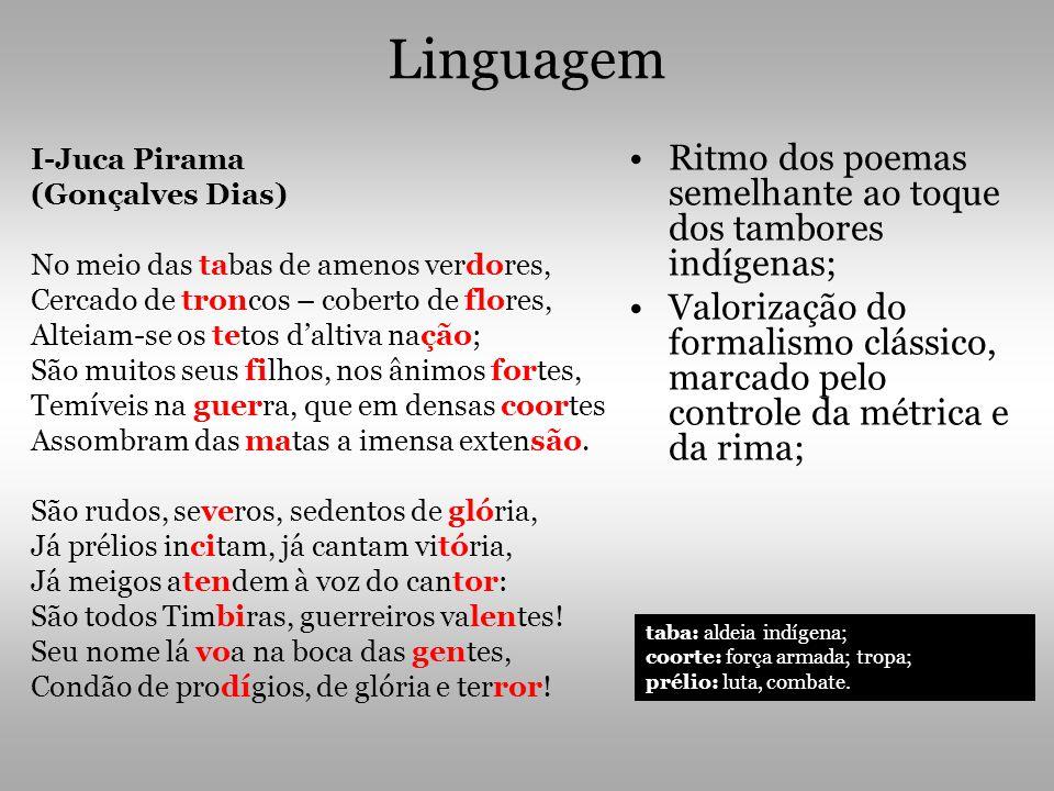 Linguagem Ritmo dos poemas semelhante ao toque dos tambores indígenas;