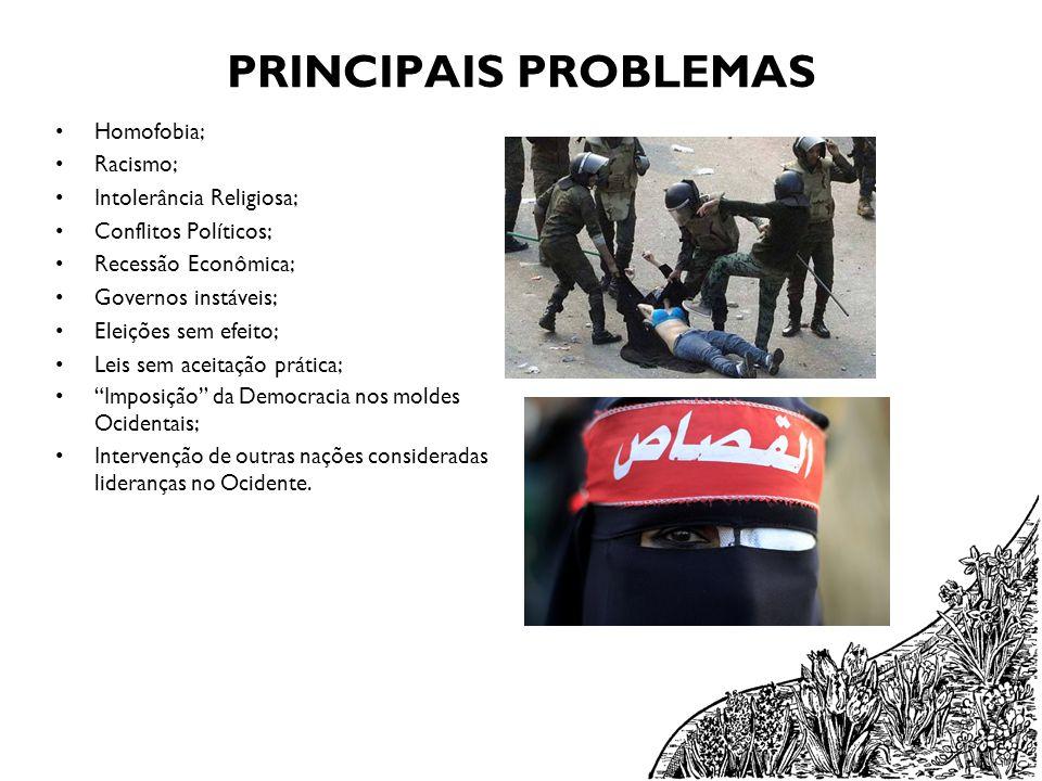 PRINCIPAIS PROBLEMAS Homofobia; Racismo; Intolerância Religiosa;