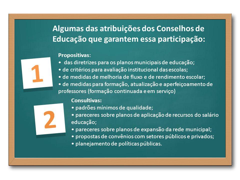 Algumas das atribuições dos Conselhos de Educação que garantem essa participação: