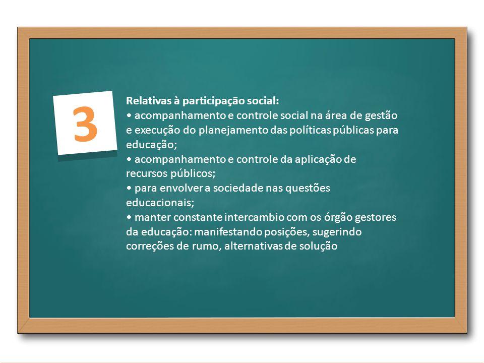 3 Relativas à participação social: