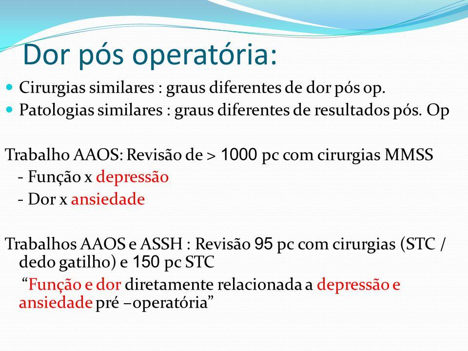 Dor pós operatória: Cirurgias similares : graus diferentes de dor pós op. Patologias similares : graus diferentes de resultados pós. Op.