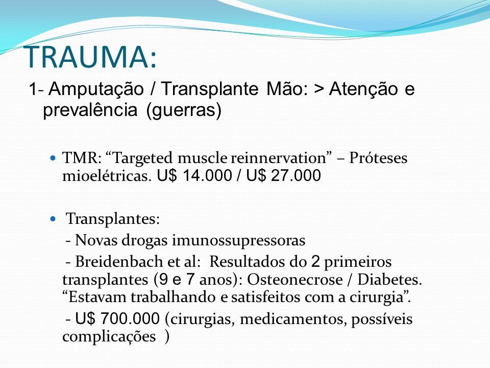 TRAUMA: 1- Amputação / Transplante Mão: > Atenção e prevalência (guerras)
