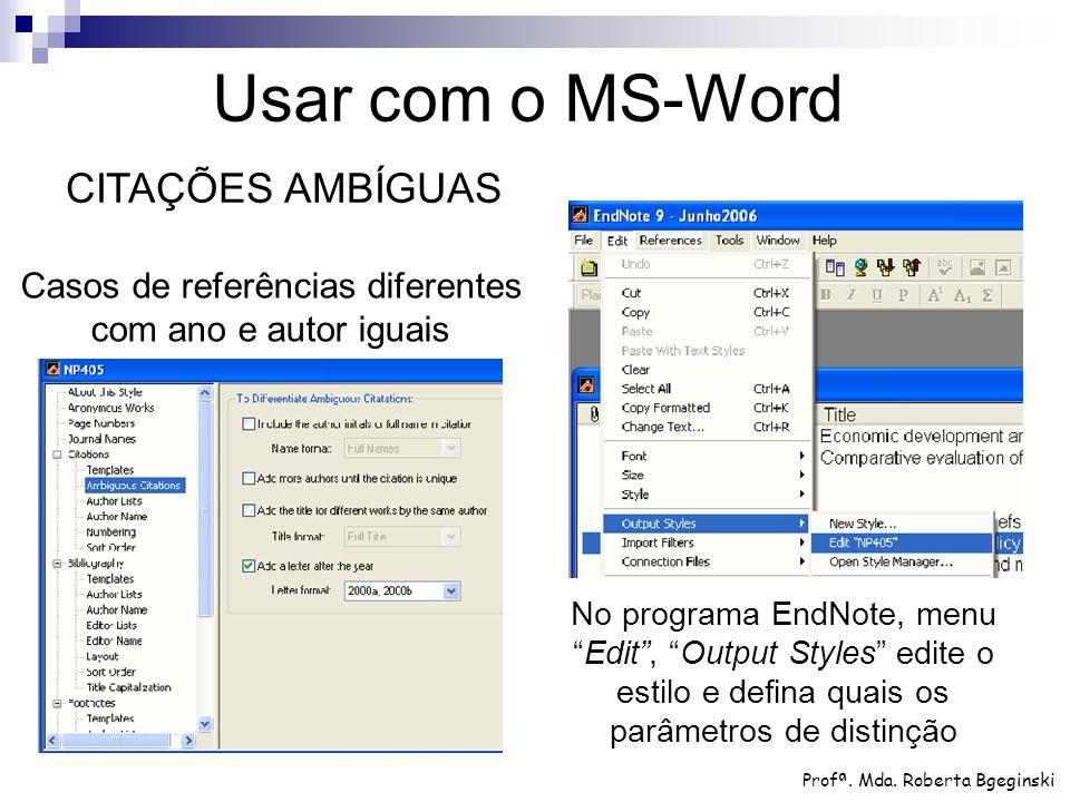 Usar com o MS-Word CITAÇÕES AMBÍGUAS
