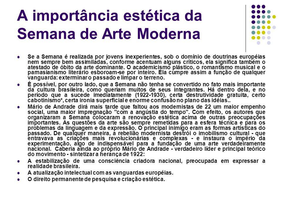 A importância estética da Semana de Arte Moderna