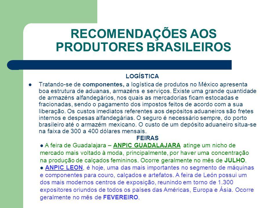 RECOMENDAÇÕES AOS PRODUTORES BRASILEIROS