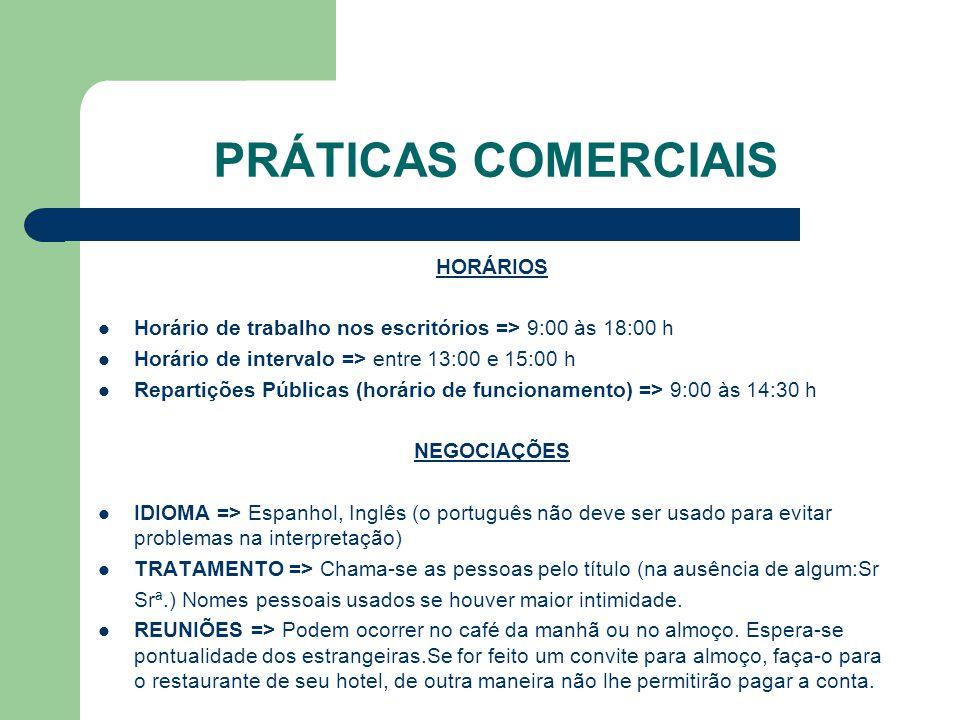 PRÁTICAS COMERCIAIS HORÁRIOS
