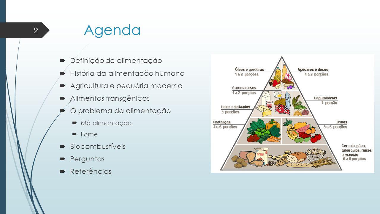Agenda Definição de alimentação História da alimentação humana
