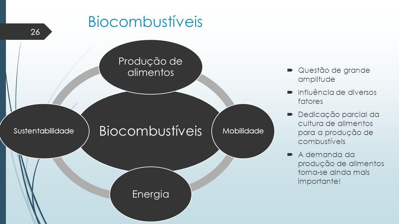 Biocombustíveis Biocombustíveis Produção de alimentos Energia