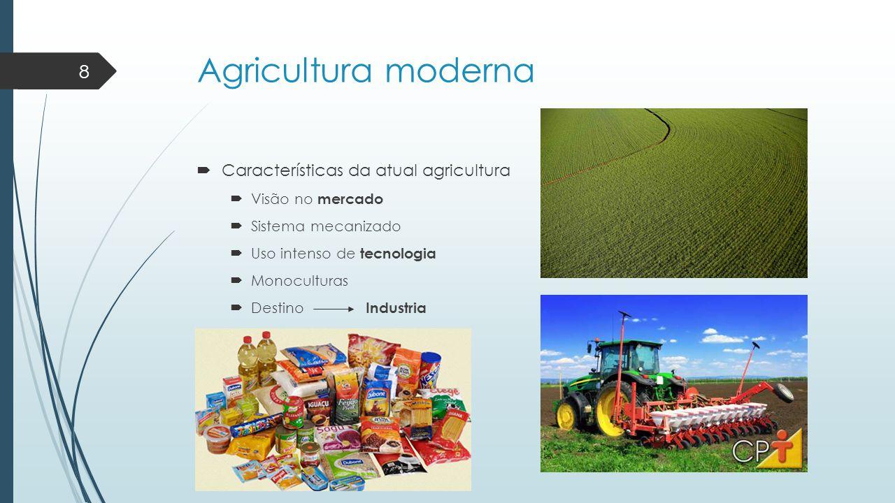 Agricultura moderna Características da atual agricultura