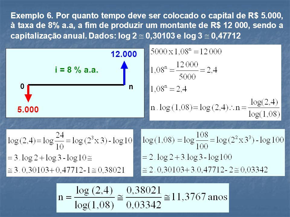 Exemplo 6. Por quanto tempo deve ser colocado o capital de R$ 5