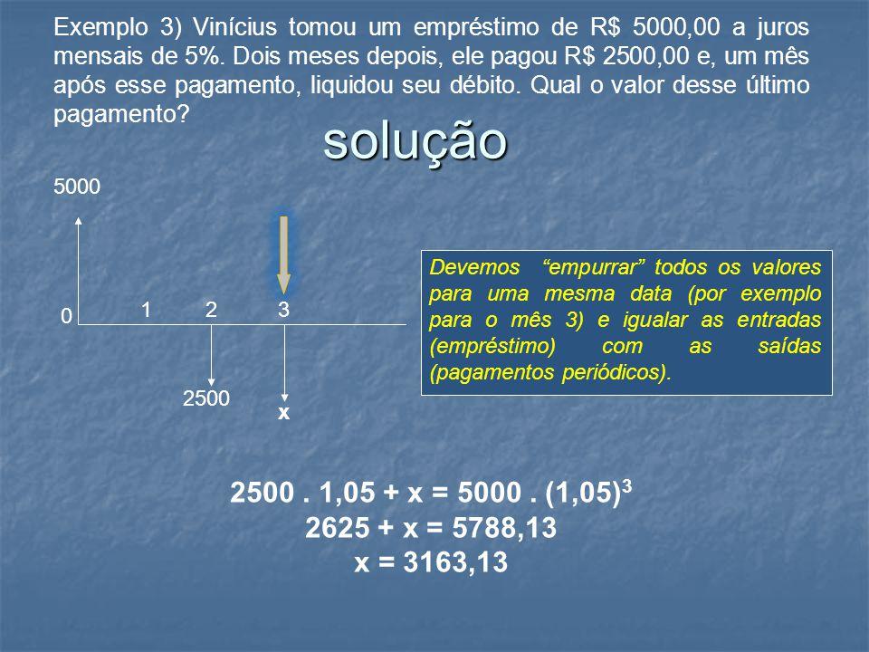 Exemplo 3) Vinícius tomou um empréstimo de R$ 5000,00 a juros mensais de 5%. Dois meses depois, ele pagou R$ 2500,00 e, um mês após esse pagamento, liquidou seu débito. Qual o valor desse último pagamento
