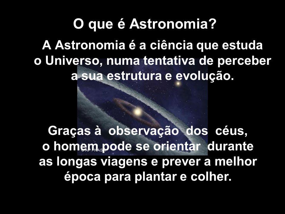 O que é Astronomia A Astronomia é a ciência que estuda o Universo, numa tentativa de perceber a sua estrutura e evolução.