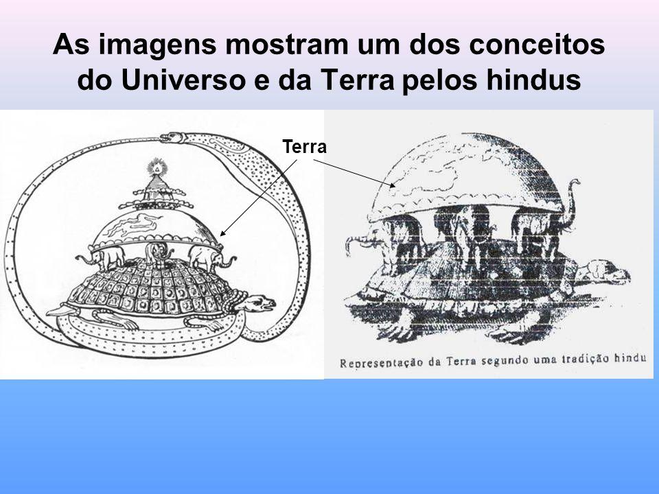 As imagens mostram um dos conceitos do Universo e da Terra pelos hindus