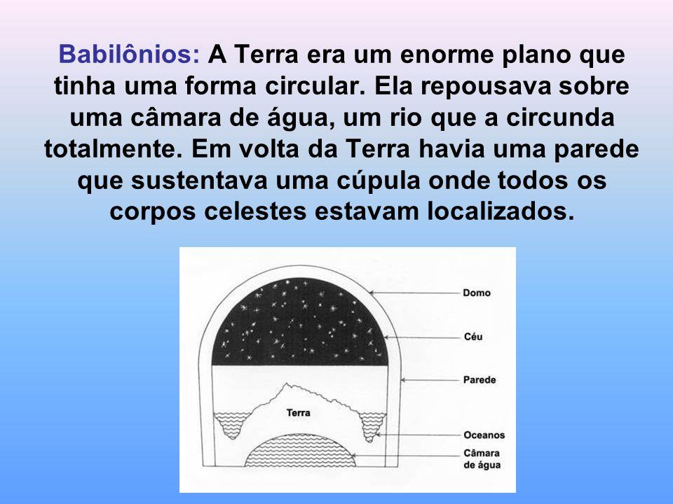 Babilônios: A Terra era um enorme plano que tinha uma forma circular