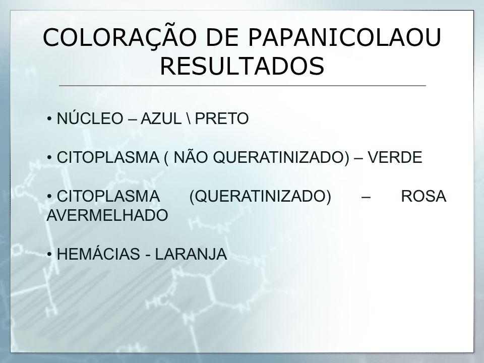 COLORAÇÃO DE PAPANICOLAOU RESULTADOS