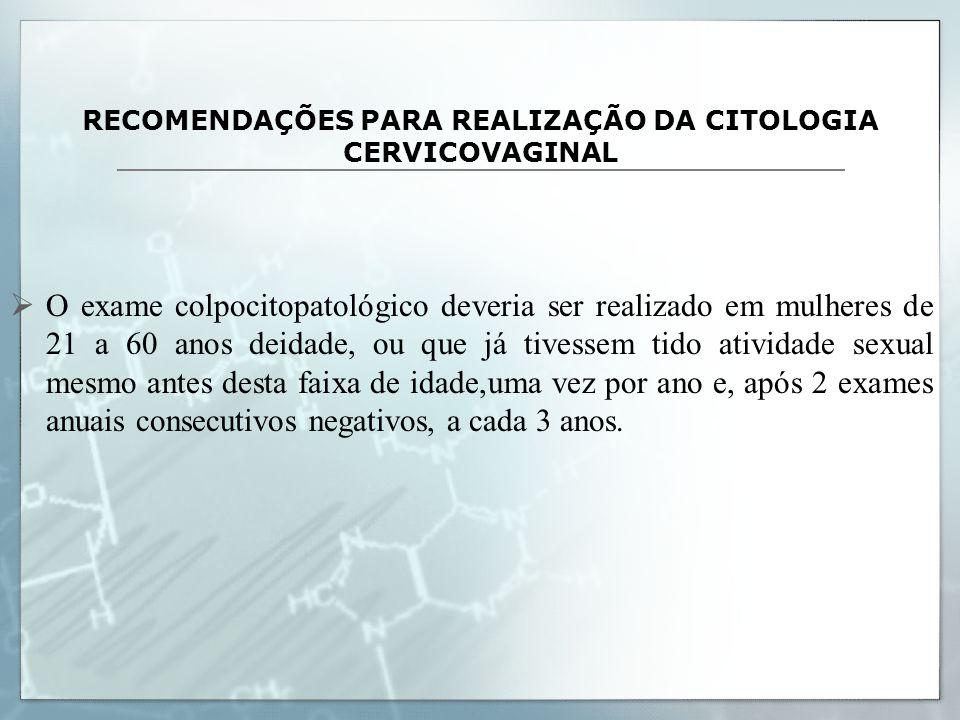 RECOMENDAÇÕES PARA REALIZAÇÃO DA CITOLOGIA CERVICOVAGINAL