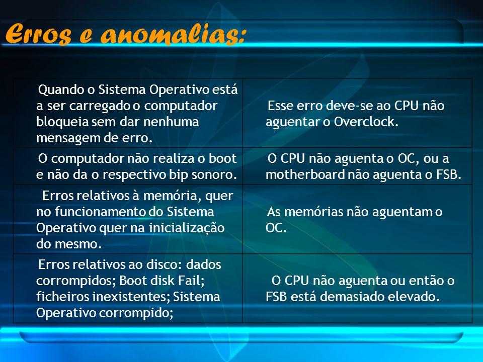 Erros e anomalias: Quando o Sistema Operativo está a ser carregado o computador bloqueia sem dar nenhuma mensagem de erro.