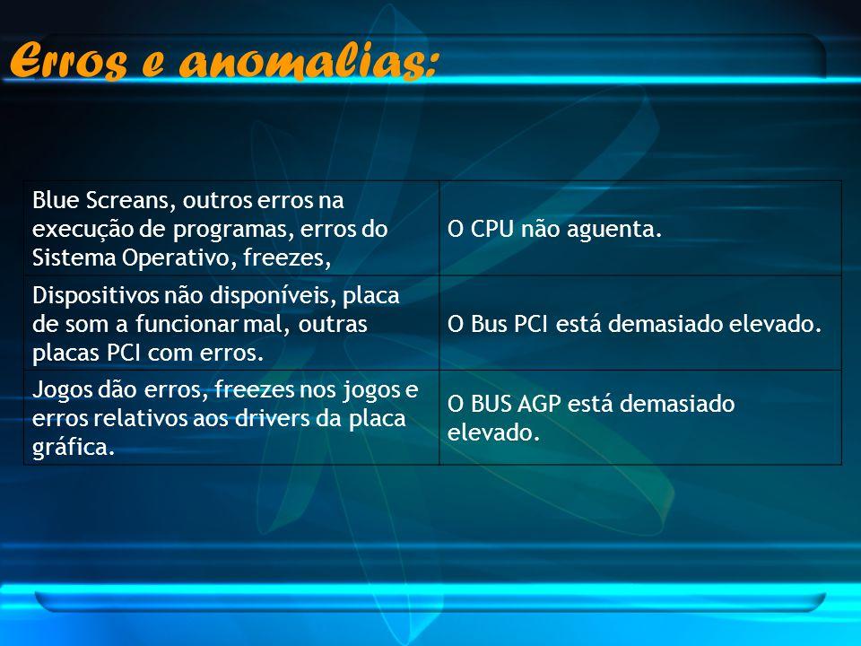 Erros e anomalias: Blue Screans, outros erros na execução de programas, erros do Sistema Operativo, freezes,