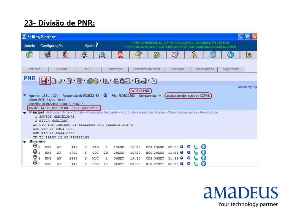 23- Divisão de PNR: