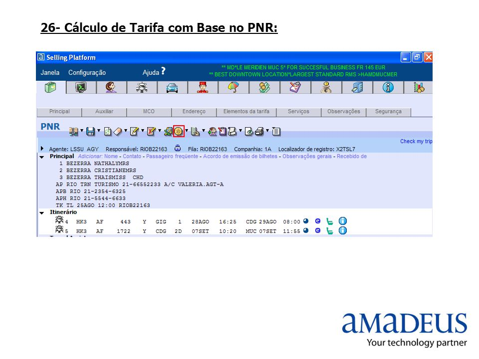 26- Cálculo de Tarifa com Base no PNR: