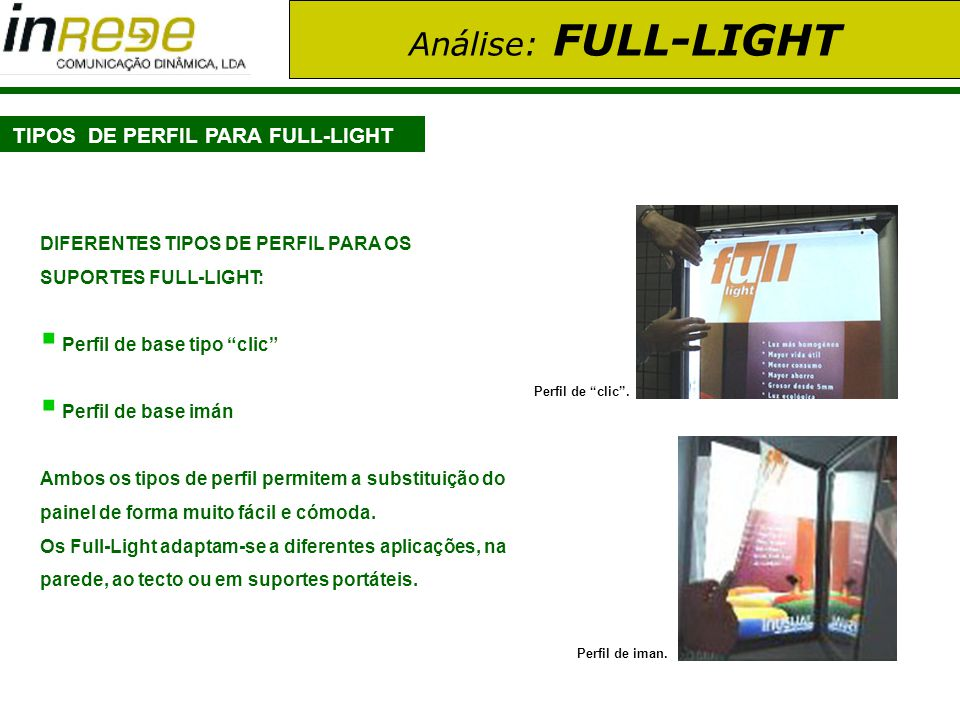 TIPOS DE PERFIL PARA FULL-LIGHT