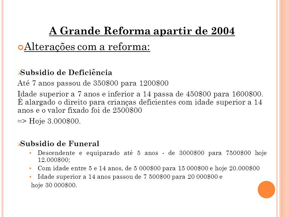 A Grande Reforma apartir de 2004