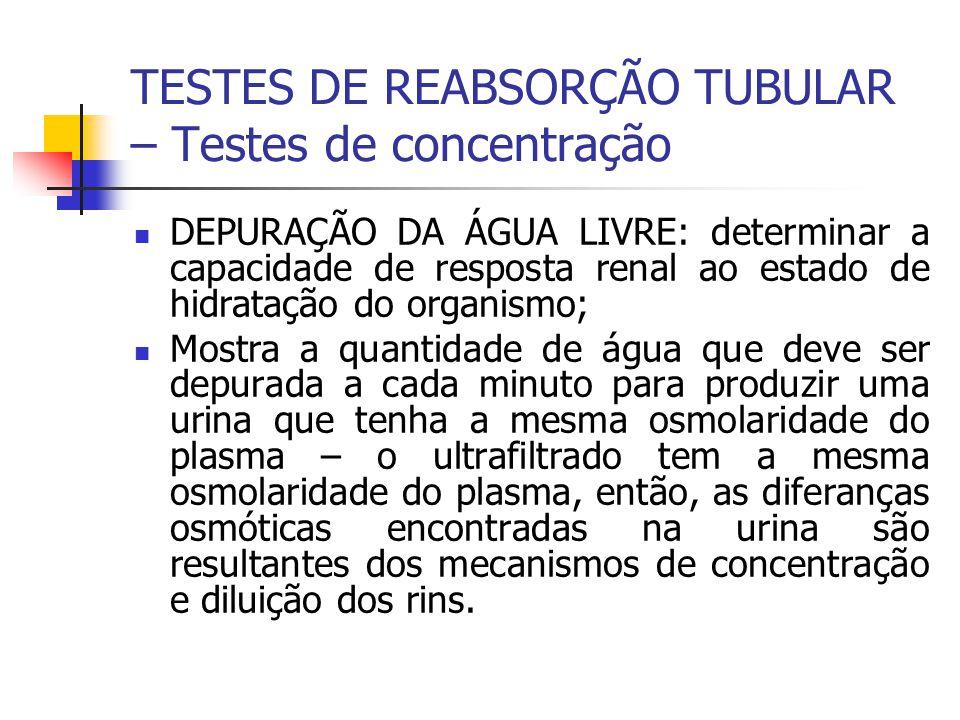 TESTES DE REABSORÇÃO TUBULAR – Testes de concentração