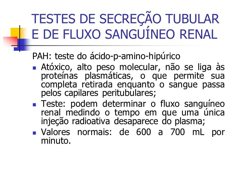 TESTES DE SECREÇÃO TUBULAR E DE FLUXO SANGUÍNEO RENAL